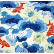 Lotus Leaf Chintz in Blue Home Decor Cotton Fabric Fabric Traders