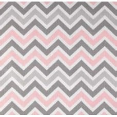 Chevron Zig Zag in Greys & Pink Home Decor Cotton Fabric Fabric Traders