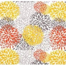 In Bloom Polyester Outdoor Fabric in Orange, Yellow and Grey Fabric Traders