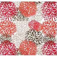 In Bloom Polyester Outdoor Fabric in Red, Orange and Grey Fabric Traders