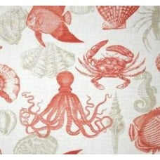 REMNANT - Sealife Outdoor Polyester Fabric in Grey, Coral and White Fabric Traders