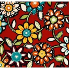 REMNANT - Wilder Cabana Flowers in Red and Multi Outdoor Fabric Fabric Traders