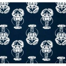 Lobster Outdoor Fabric in Navy Fabric Traders