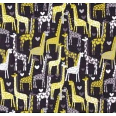 Love Giraffes in Grey Cotton Fabric by Michael Miller Fabric Traders