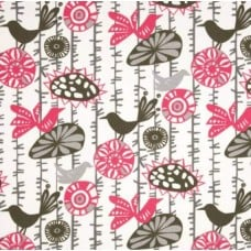 Minky Fabric in Pink Birds OFF CUT Fabric Traders