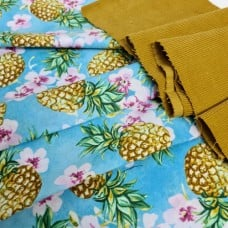 FABRIC STACK - Craft, Quilting And Apparel Cotton Fabrics 44cm in Pineapples and Corduroy  Fabric Traders