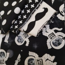 FABRIC STACK - Craft, Quilting And Apparel Cotton Fabrics 40cm in Black And White  Fabric Traders