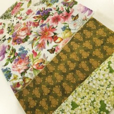 FABRIC STACK - Craft, Quilting And Apparel Cotton Fabrics 50cm Flowers And Pineapples Fabric Traders