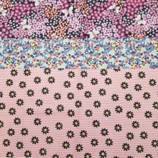 FABRIC STACK - Craft, Quilting And Apparel Cotton Fabrics 45cm Floral Prints