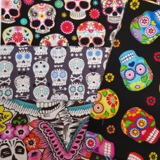FABRIC STACK - Craft, Quilting And Apparel Cotton Fabrics 50cm in Skulls
