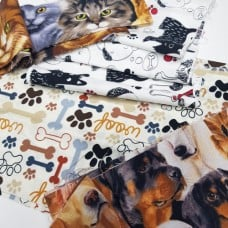 FABRIC STACK - Craft, Quilting And Apparel Cotton Fabrics 45cm in Pets  Fabric Traders
