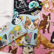 FABRIC STACK - Craft, Quilting And Apparel Cotton Fabrics 45cm in Cats And Dogs