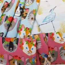 FABRIC STACK - Craft, Quilting And Apparel Cotton Fabrics 45cm in Cats and Storks