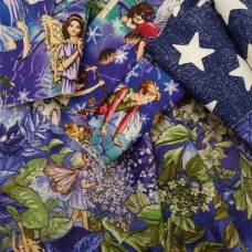 FABRIC STACK - Craft, Quilting And Apparel Cotton Fabrics 45cm in Fairies and Stars