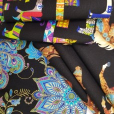 FABRIC STACK - Craft, Quilting And Apparel Cotton Fabrics 45cm in Pops on Black  Fabric Traders