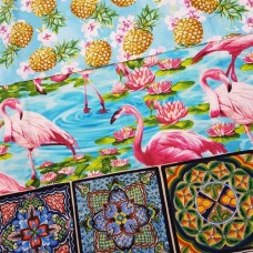 FABRIC STACK - Craft, Quilting And Apparel Cotton Fabrics 45cm in Tropical Pineapples  Fabric Traders