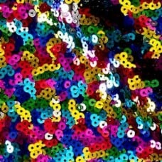 Sequined Mesh Dance Wear, Costume & Apparel Fabric in Multi Colour Fabric Traders