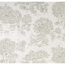 Toile Rural Scenes Home Decor Fabric in Grey and Ivory