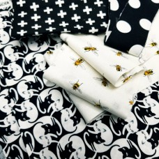 FABRIC STACK - Craft, Quilting And Apparel Cotton Fabrics 40cm in Bees And Cats  Fabric Traders