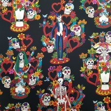Folk Lorico Tree of Life Cotton Fabric by Alexander Henry in Black