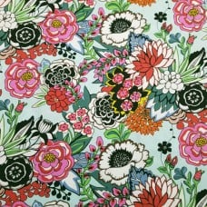 Floral Nat Brite Cotton Fabric in Mint By Alexander Henry