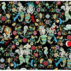 Skeletons of the Sea in Black Cotton Fabric by Alexander Henry Fabric Traders