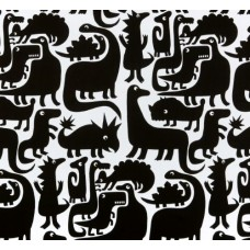 Dinosaurs Cotton Fabric by Alexander Henry in Black and White