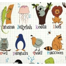 Animal Alphabet Monkey's Business Cotton Fabric by Alexander Henry