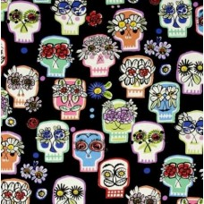 Folk Lorico Flower Eyes on Black Cotton Fabric