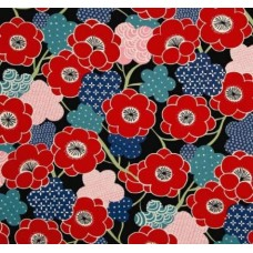 Kiki Ume Cotton Fabric by Alexander Henry in Black Fabric Traders