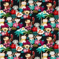 Meowi in Black Cotton Fabric by Alexander Henry Fabric Traders