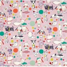 Monkey's Bizness Puppy Polka Dots in Berry Cotton Fabric by Alexander Henry