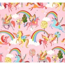 Magic Rainbow in Pink Monkey's Bizness Cotton Fabric by Alexander Henry