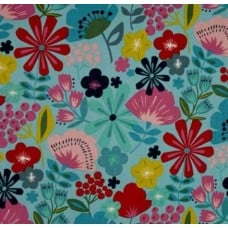 Everyday Eden Pretty City Poppy Fabric in Turquoise