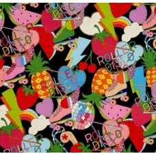 Roller Disco Cotton Fabric in Black by Alexander Henry