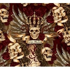Royal Vintage Skull Duggery Cotton Fabric by Alexander Henry