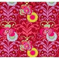 Love Paradise Bouquets in Wine Cotton Fabric by Amy Butler