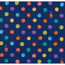 Very Hungry Caterpillar Bright Dots Cotton Fabric in Blue Fabric Traders