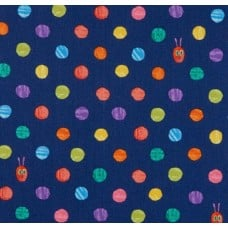 Very Hungry Caterpillar Bright Dots Cotton Fabric in Blue