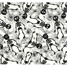 Wacky Skeletons And Webs in White Cotton Fabric