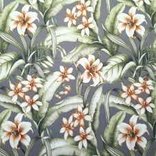 Tropical Floral Naya Indoor Outdoor Fabric in Grey