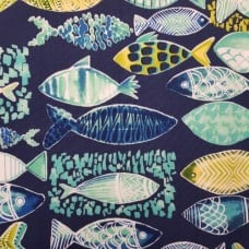 Coastal Ocean Fish Hooked in Blue Indoor Outdoor Fabric