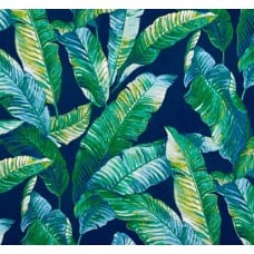 Tropical Foliage Indoor Outdoor Fabric in Blue and Green