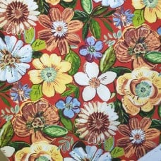 Robyn Floral in Cherry Indoor Outdoor Fabric