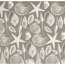 Coastal White Shells on Grey Indoor Outdoor Fabric