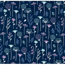 Lightweight Cotton Gauze Muslin Fabric in Wild Flowers in Dark Blue Fabric Traders