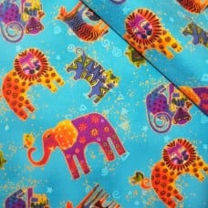Flannelette Wild Animals Cotton Fabric Fabric Traders