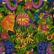 Flannelette Jungle Animals Cotton Fabric