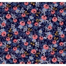 Le Fleurs Rosa in Navy Cotton Fabric by Cotton + Steel Fabric Traders