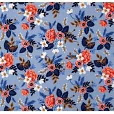Le Fleur Birch in Periwinkle Cotton Fabric Fabric Traders